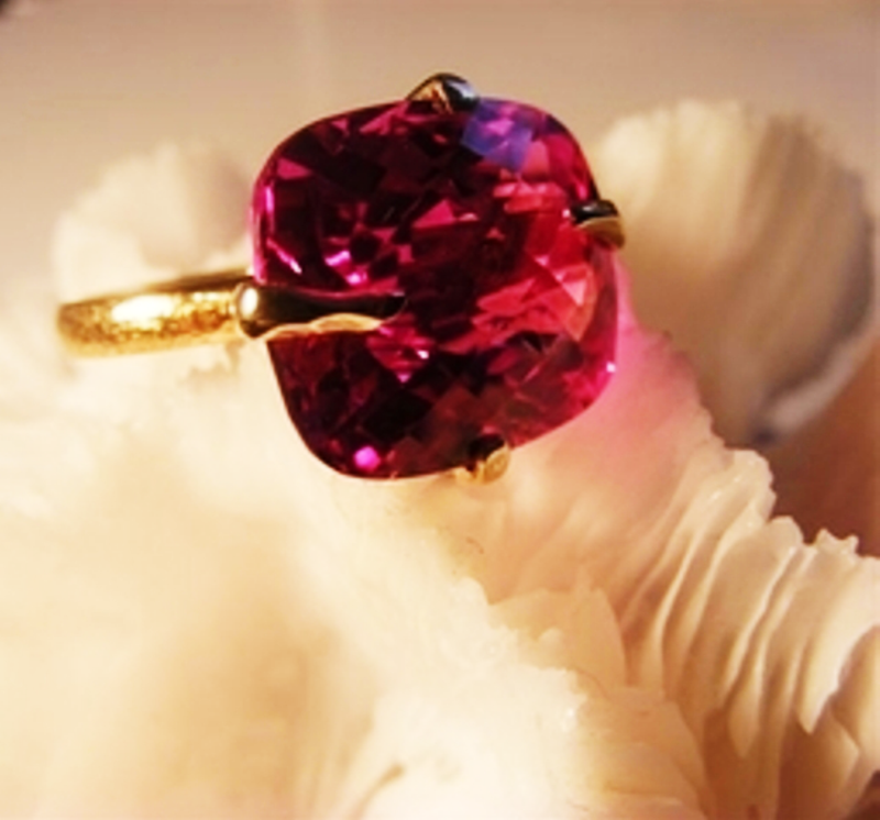 Checkerboard pink topaz & gold ring