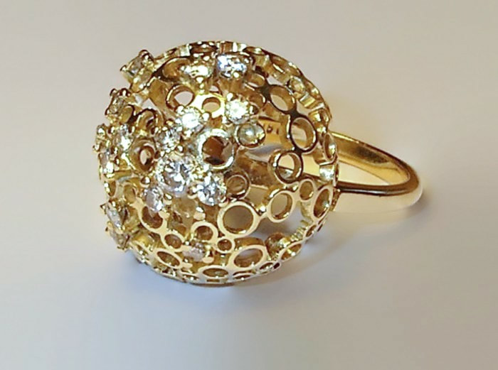 'Holey Globe' 18ct & Diamond ring