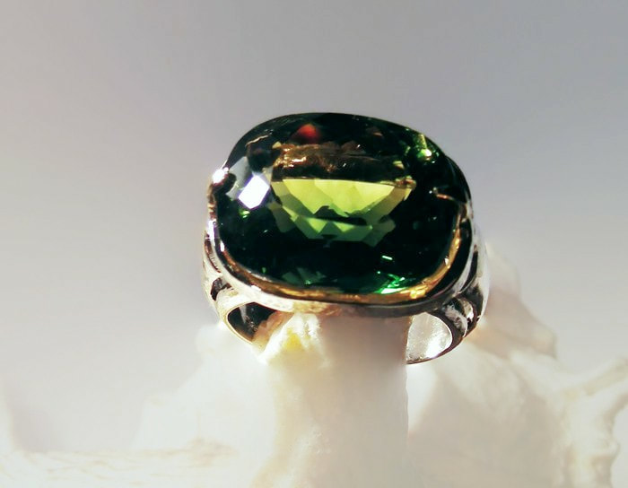 large green natural Ametrine ring