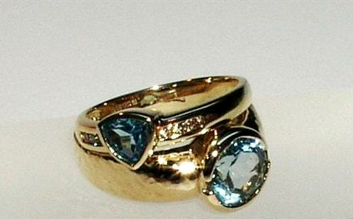 Aquamarine & gold rings