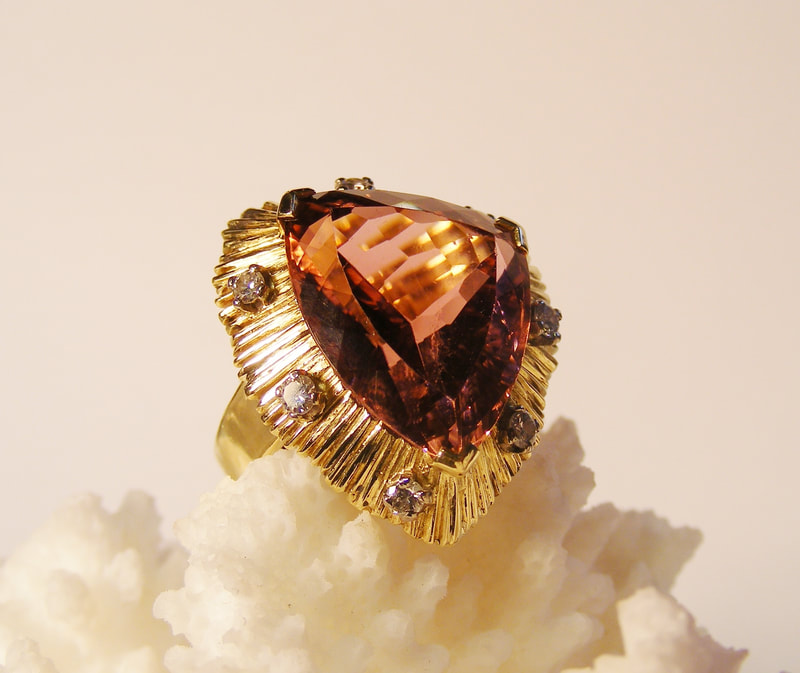peach topaz, gold & diamond ring