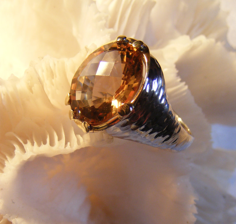 sherry checkerboard topaz, nuggets  ring