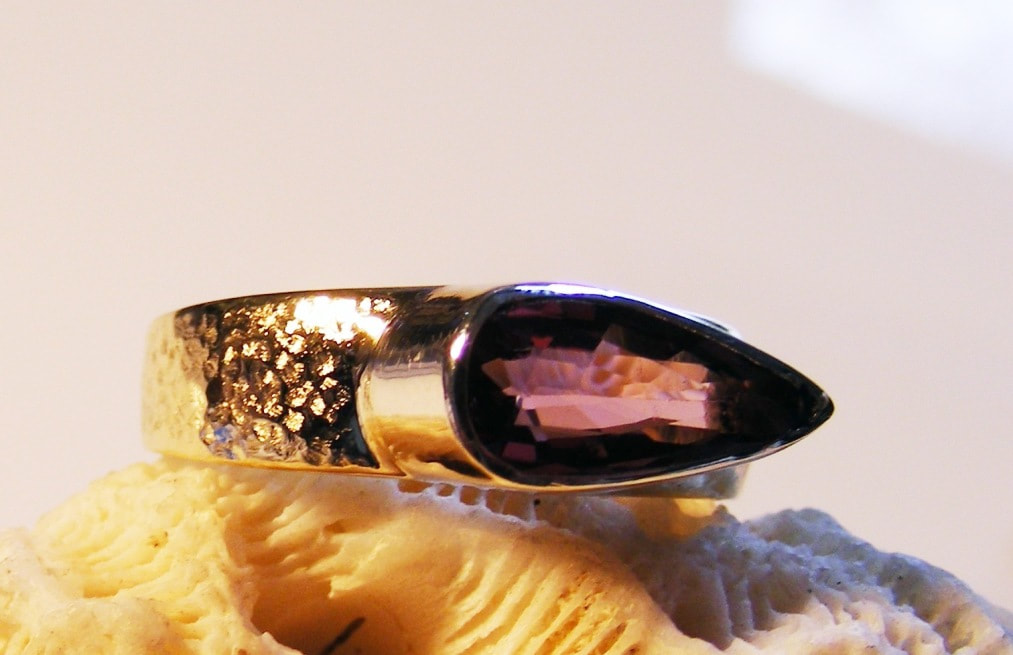 pear shaped pink tourmaline & gold ring
