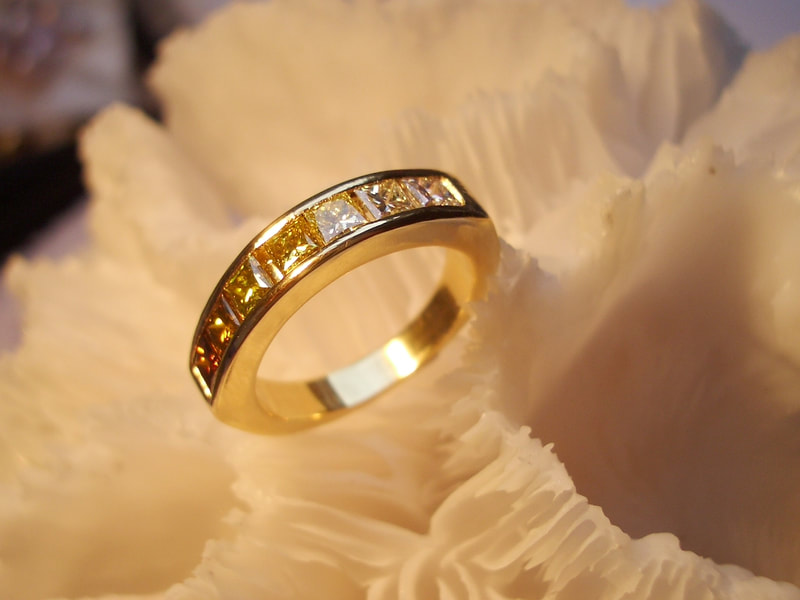 Champagne diamonds & gold ring