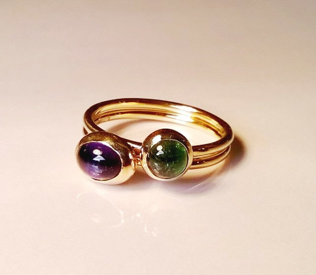 green & purple tourmaline stacking rings