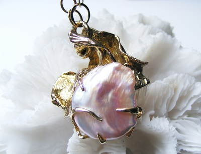 Huge, natural, rare, pinky colour natural Biwa Baroque pearl pendant, with crashing waves of solid gold, encasing the natural pearl. with handmade gold circles of gold chain.