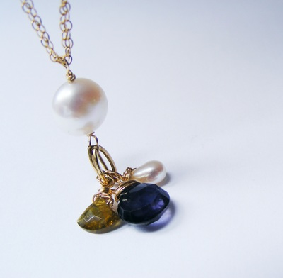 Natural pearl & gold pendant, with natural citrine & tourmaline facetted droplets.