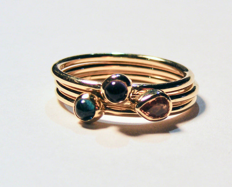 tourmaline stacking band rings
